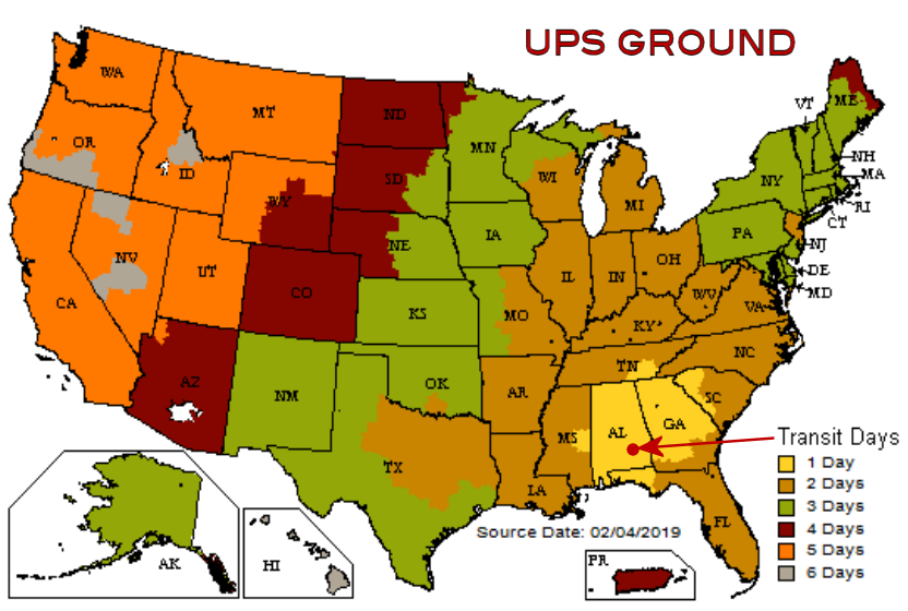 UPS Ground Map from southeast Alabama